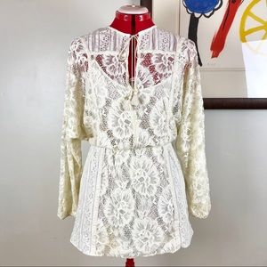 Free People Ivory Cream Lace Boho Dress Tassels XS